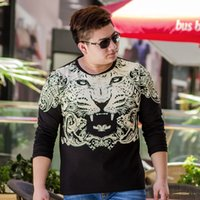big d product - 3 d printing T shirt tiger design Men s cotton round neck long sleeve clothes leisure coat big yards product quality merchants in China