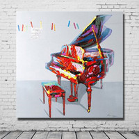 abstract piano - Hand drawing modern cartoon pictures abstract piano oil painting still life things picture for modern living room wall decor