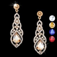 Wholesale 18 k gold plated long earings fashion jewelry wedding earrings for bride marriage big party earrings pendant party dress ersg95