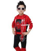 Wholesale Big kids spring Korean boy set new Spider Man cartoon boy long sleeved suit in Korean