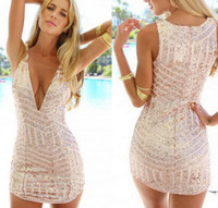 Wholesale Fashion Sexy Gold Sequins Deep V neck Short Dress sling Backpack Hip Tight Nightclub Dress Colors