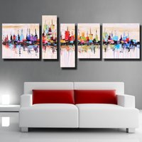 artist stretched canvas - Framed Stretched New York Cityscape Modern Abstract Oil Painting on Canvas Artist Painted Wall Art Picture Ready to Hang