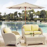 Wholesale 9Ft Wooden Patio Umbrella Sun Shade Wood Pole Outdoor Beach Cafe Garden Beige