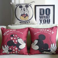 Wholesale Minnie pillow cover Mickey Minnie Mouse cartoon lovers wedding gift throw pillow case pillowcase houseware