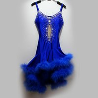adult competition dance costume - Adult Child New style latin dance costume sexy Feather spandex latin dance competition dress for women child latin dance dresses S XL