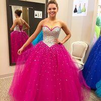 best quinceanera dresses - Custom Made Fuchsia Quinceanera Dresses Best Sale Sparking Crystals Sweetheart Party Gown vestidos de Quinceanera Hot