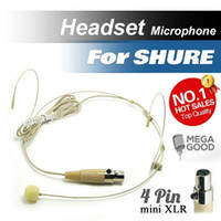 Wholesale Condenser Microphone Xlr - Free Shipping! Condenser Headworn Headset Microphone with Mini 4 Pin XLR TA4F Connector for Shure Wireless Body-Pack Transmitter