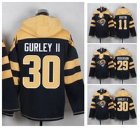 austin cottons - 2016 New LA Rams Men s AUSTIN DICKERSON GURLEY II Black Cotton Hoodies Sweatshirts Football Jerseys High Quality Stitched Wear
