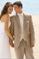 best lighting design - Custom Design Two Buttons Beige Groom Tuxedos Best Man Notch Lapel Groomsmen Men Wedding Suits Bridegroom Jacket Pants Tie Vest