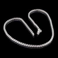 Bon Marché Des chaînes d'or blanc-Argent Box Vintage Chain White Gold Overlay femmes Bijoux 30% Argent 925 Collier chaîne Pour Laides Pendentif New Arrival