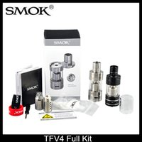 Wholesale SMOK TFV4 Full Kit TF Sub ohm Tank ml DIY RBA Base Smooktech TFV4 fit Xcube II Box Mod VS E Cigarettes TF RDTA