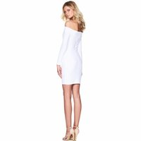 Wholesale Fashion Elegant Off the Shoulder White Black Green Mini Sexy Club Dress Bandage Party Dress New Womens Clothing