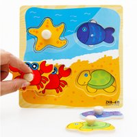 Wholesale Pc Educational Baby Hand Grasp Wooden Puzzles Alphabet Cute Cartoon Animals Cognitive Kids Early Learning Jigsaw Toys Gifts