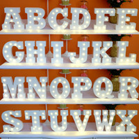 Wholesale New White wooden letter LED Marquee Sign Alphabet LIGHT UP night light Indoor WALL Decoration Wedding Party Window Display Light