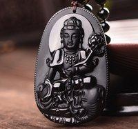 bad necklaces - Natural obsidian pendant guanyin pendant ward off bad luck pendant49mmx30mmx10mm