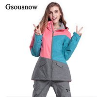 Wholesale Gsou Snow Brand Outdoor Sport Snowboard Women Ski Jacket Warm Polyester Thicken Winter Female Sking Coat Parka for Hike