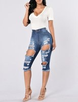 big ladies jeans - Knee Length Jeans Hot Summer Women Ripped Denim Jeans Stree Style Sexy Ladies Blue Big Hole Slim Stretch Ripped Denim Pants