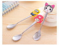 Wholesale Cute Cartoon Silicone Cheap Coffee Stainless Steel Stirring Spoon High Quality Cute Cartoon Spoon with Rubber Header