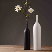 porcelain vase - 2016 Elegant Style Top Quality Pure Handmade Porcelain Two Shapes Flower Vases Pot Pack Luxury Modern Style Decorative Ceramic Art Vase Whit