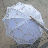 battenburg lace - New Lace Umbrella Cotton Embroidery White Battenburg Lace Parasol Umbrella Wedding Umbrella Decorations QAZ268