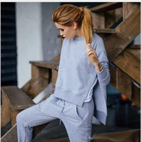 asymmetrical hoodie sweatshirts - 2016 Cotton Two Piece Set Tracksuit Women sport Asymmetrical Hoodies Set Side Split Sweat Suits Women Sweatshirts Outfit sportwear