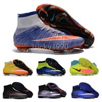 army children - children MerCURial SuPERfly CR7 soccer shoes youth women MaGista OrDen II FG High Ankle turf football Boots Kids soccer cleats