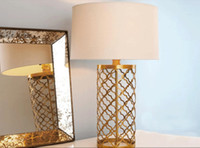 Wholesale Modern Europe quality crystal desk Lamp lighting bedroom Continental Iron home gold metal grid lamp Weave Metal Table Lamp Muted Gold