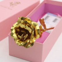 Wholesale 2016 NEW Creative Birthday Wedding gif k Manual Golden Rose Lover s Flower Gold Dipped Rose Artificial Flower Gold Painted Decoration Pink
