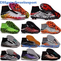 Wholesale 2016 New High Ankle Cheap Original Soccer cleats hypervenom phantom II Indoor soccer shoes Leather IC FG Turf Football Boots Neymar Boots