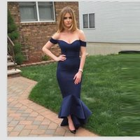 beautiful night gowns - Beautiful Dark Blue Off Shoulder Prom Dresses Sexy Mermaid Evening Dress Sweetheart Ruffles Party Night Gown