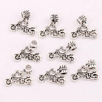 Metals antique motorcycles - 24 x23mm Antique Silver Motorcycle Charm Beads Fit European Bracelets Jewelry DIY Metals Loose Beads B494