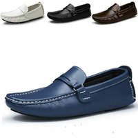 Cheap Spring and Autumn Men's Fashion Casual Leather Loafers Driving Shoes Peas Shoes Lazy British Men Wear Big Yards 38-47