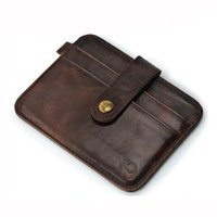 Wholesale Clutch Men Korean - HOT Sale Unisex money clip Genuine Leather Cards and ID Holders Cowhide Credit Cards Holder Case Mini Ultral Thin men Wallet short