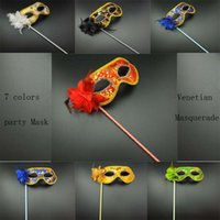 Wholesale 50pcs Hand Made Party Mask stick Wedding Venetian Half face flower sexy mask Halloween Masquerade Mask princess Braid Mardi Gras Mask