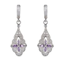 best timing light - 925 sterling silver Hot Earrings Promotion S Light purple Cubic Zirconia Best Sellers Time limited discount Christmas gift Rave reviews