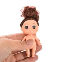 baking toys - 9cm Doll for Mini Ddung Dolls with Brown Bun Hair Baking Mold Dolls Girl Toys cm