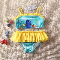 baby sun swimsuit - 2016 Finding Nemo Dory Baby Kids Swimsuit Two Pieces Nemo Dory Girls Tutu Dress Bikini Summer Sun resistant Swimwear