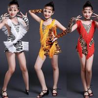 ballroom dress patterns - Girls Sexy Leopard Sequined Tassels Latin dance dress zebra pattern Kids Ballroom Party Salsa dancing dress Standard dancewear costumes