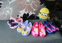 Nouveau style de Mini Melissa Baby Girls Jelly Sandals Cute Baby Shoes Bow Cartoon Plage Sandales Slipper