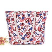 Wholesale Red Lips Printed Outdoor Canvas Tote Bag Women Casual USA Flag Rope Large Shoulder Bag Female Travel Shopping Cord Beach Handbag