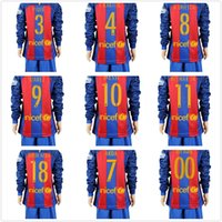 baby kit s - 2016 Long Sleeve BarcelonaES Kids jersey Youth Messi neymar jr A iniesta Suarez Arda Soccer Sets Boys Barce Children Baby kits Suit uniform