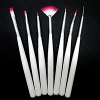 Wholesale 7pcs set white Gold printing nail brush set tools Nail Art Decorations pen Set for UV Nail Gel Polish