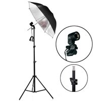 photo equipment - 220v Photo Studio Lighting Kit Light Stand Umbrella Bulb Socket studio continuous lighting kits photography equipment PSK1A