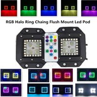 Wholesale 3 Inch W HaLo Ring RGB Chasing CREE Led Pod with RF Remote Controller Led Work Light Free Harness Off Road Led Lights Bar SUV Boat Jeep