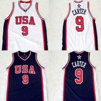 Wholesale Men s Champion Vince Carter Team USA Olympic Basketball Jerseys White Navy Retro Stitched Sport Jerseys