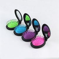 Cepillo de pelo del peine con el espejo mini cepillo de pelo portable que dobla el peine plegable del masaje con el espejo Nuevo cepillo de pelo de la señora venta caliente