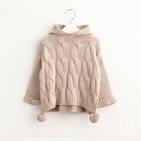 baby wool sweater - New Baby Girls Knit Hooded Pullovers Kids Girls Crochet Knitting Sweater Girl Autumn Winter Jumper Tops Babies Clothing