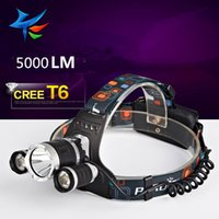 Wholesale 5000Lm CREE XML T6 Q5 LED Headlight Headlamp Head Lamp Light mode torch x18650 battery for fishing Lights