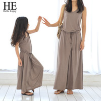 Wholesale HE Hello Enjoy mother daughter dresses Casual Summer Family Matching Outfits Sleeveless Dress mother and daughter clothes