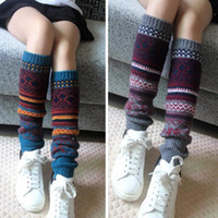aztec red - women Boho Legwarmers Aztec Knit Leg Warmers For Tall Short Boots Womens Snowflake Patchwork Boot Toppers Winter Fashion
